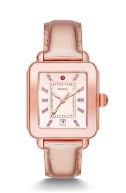 Michele Deco Sport High Shine Pink Gold Watch with Pink Dial