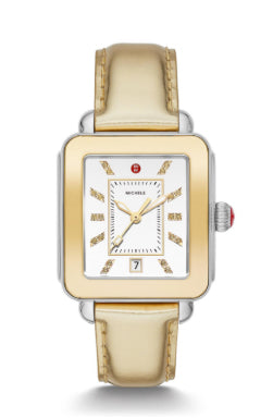Michele Deco Sport High Shine Yellow Gold Watch with Silver Dial
