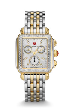 Michele Deco Two-Tone Watch with Diamond Mother of Pearl Dial