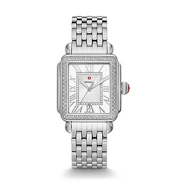 Michele Deco Madison Watch with Diamonds and White Dial