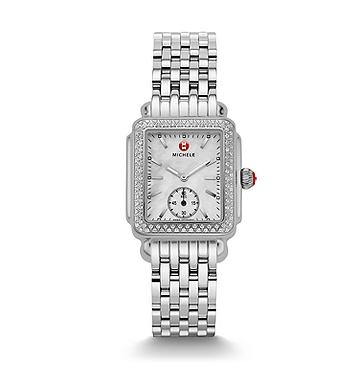 Michele Deco Mid Diamond 29mm Watch with Silver Dial