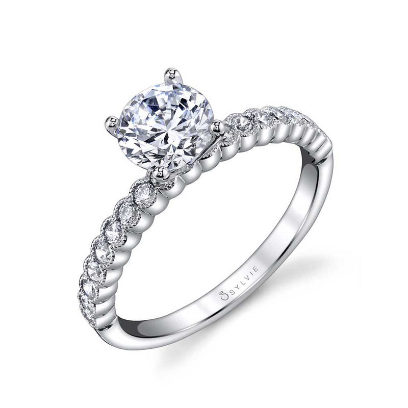 Sylvie Albertine Modern 14k White Gold Engagement Ring