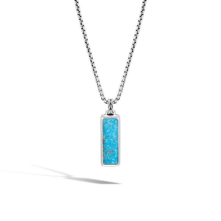 John Hardy Men's Dog Tag Pendant with Turquoise