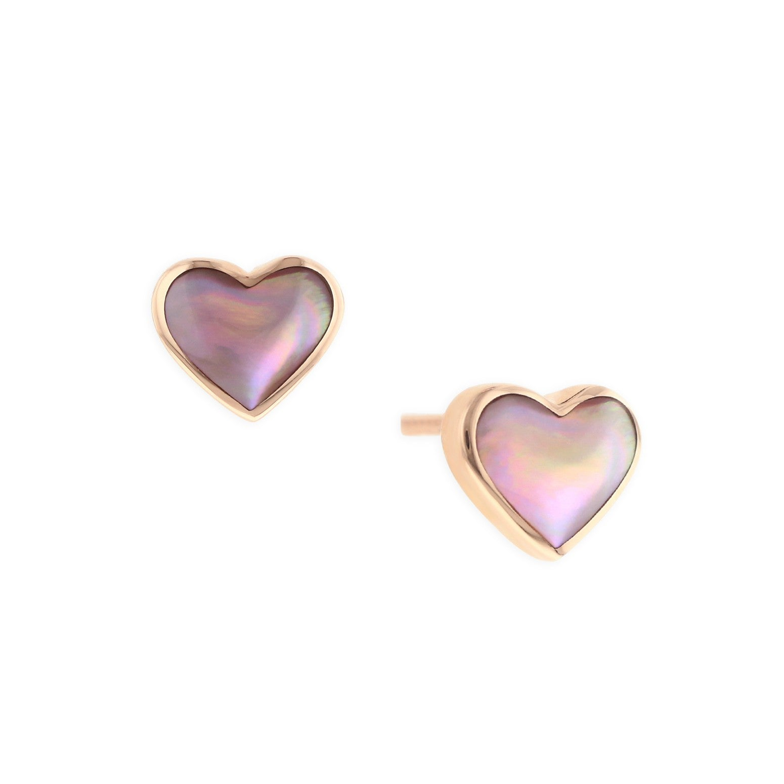 Kabana Pink Mother of Pearl Heart Stud Earrings