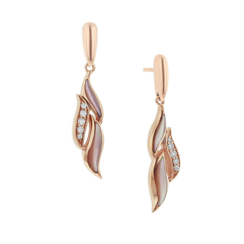 Kabana Pink Mother of Pearl and Diamond Wave Earrings