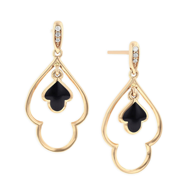 Kabana Onyx Drop Earrings in Rose Gold