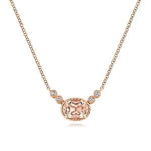 Gabriel & Co 14K Rose Gold Morganite and Diamond Pendant Necklace