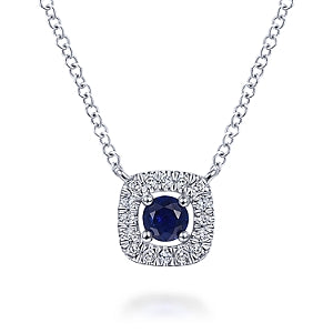 Gabriel & Co 14K White Gold Blue Sapphire Halo Pendant Necklace