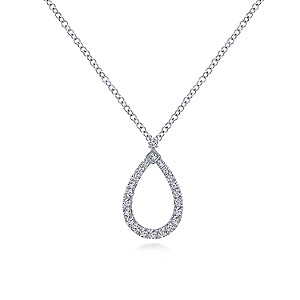 Gabriel & Co 14K White Gold Teardrop Pendant Necklace