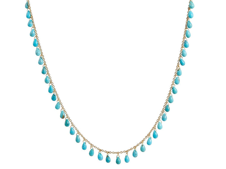 Gurhan Station Necklace with Turquoise Briolettes