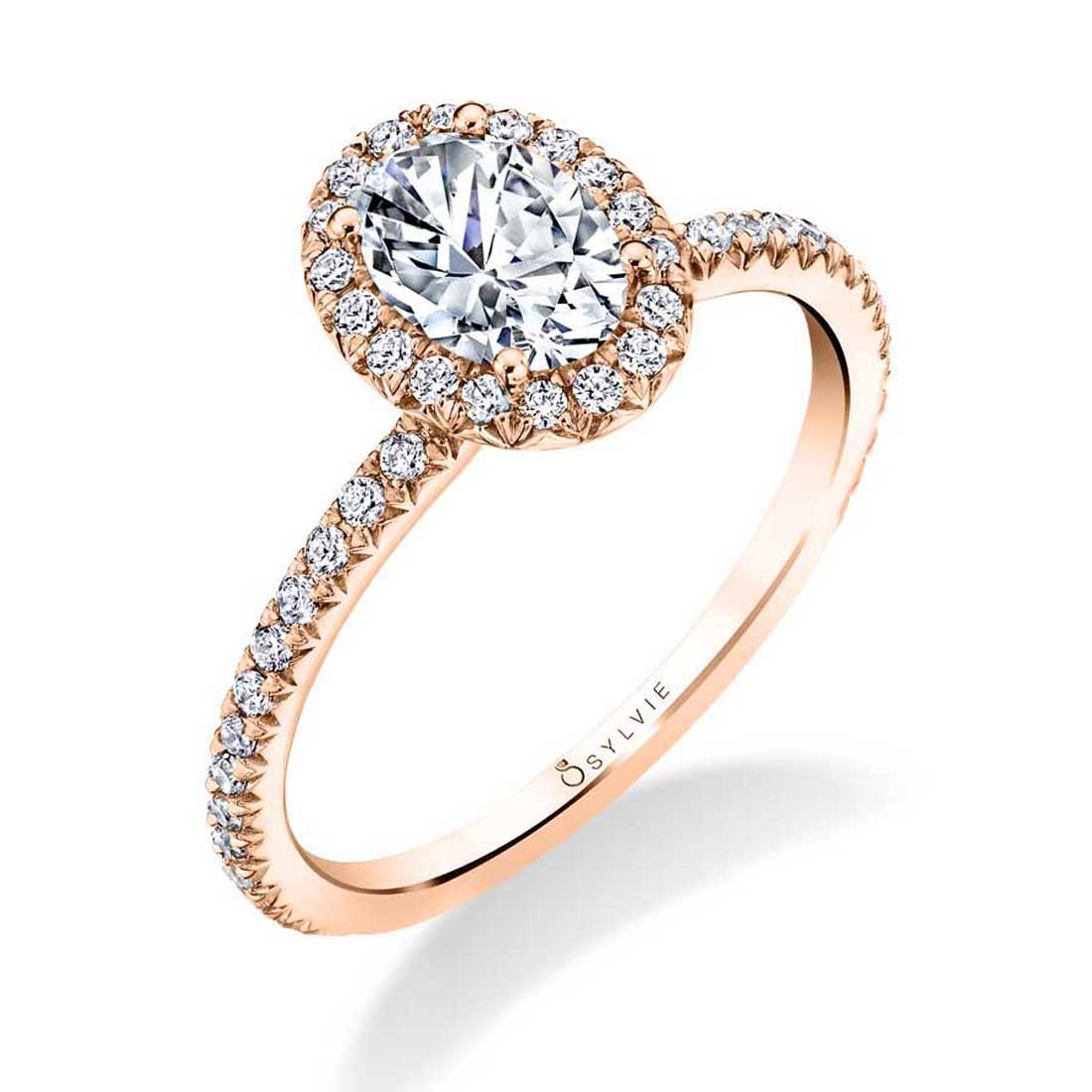 Sylvie Vivian 14k Rose Gold Oval Halo Engagement Ring