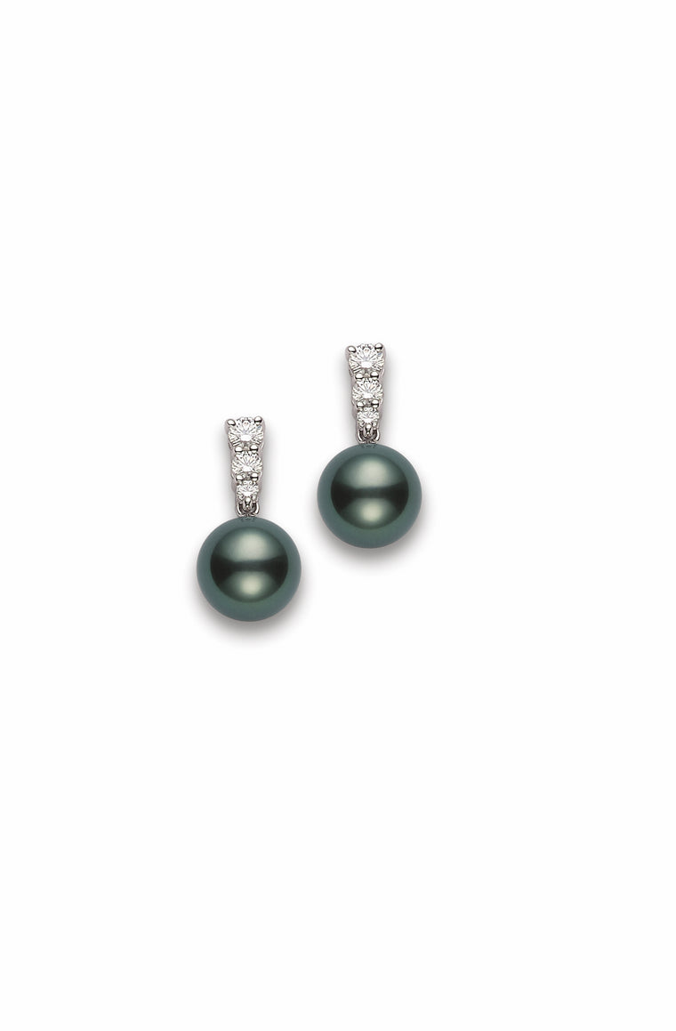 Mikimoto Tahitian Pearl and Diamond Drop Earrings