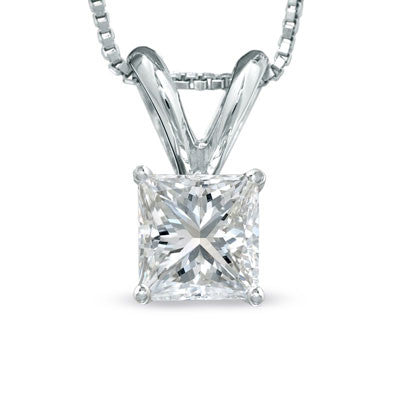 .75 carat classic princess diamond pendant in white gold