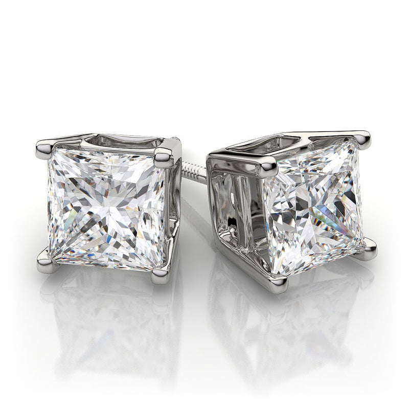 .75 TW Princess Diamond Studs in White Gold