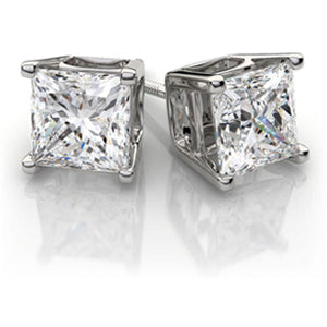 1.50 TW Princess Diamond Studs in White Gold