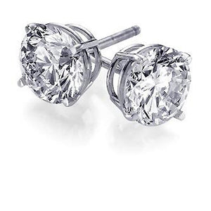 1.00 TW Round Diamond Studs in White Gold