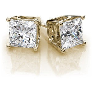 2.00 TW princess diamond studs in yellow gold