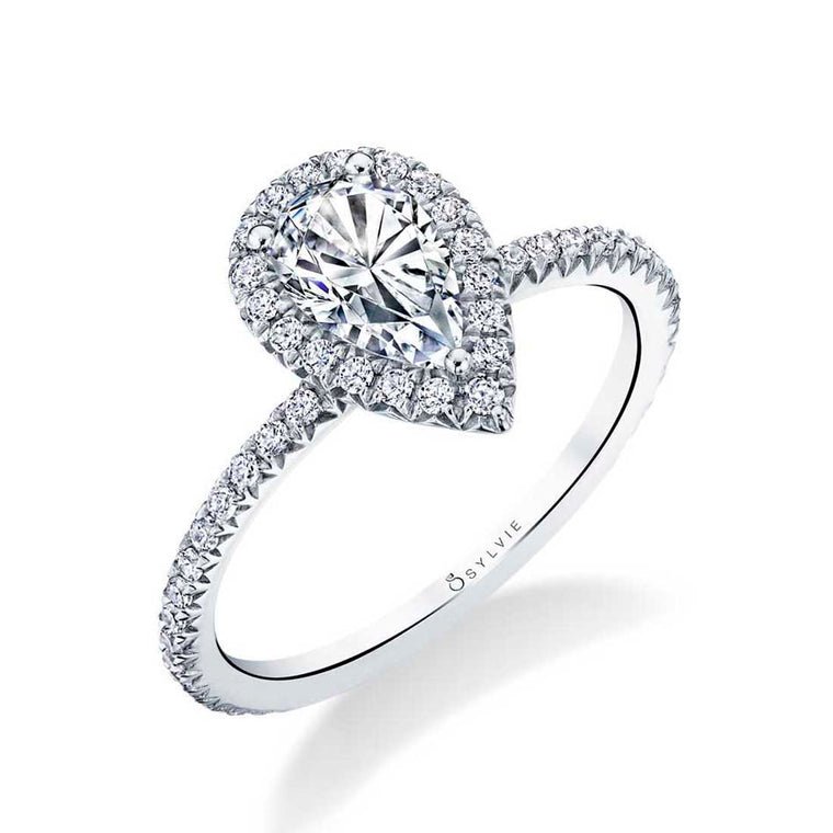 Sylvie Vivian 14k White Gold Pear Halo Engagement Ring