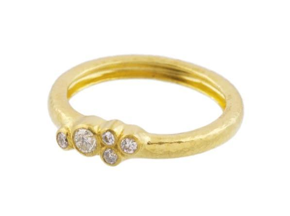 Gurhan Pointelle 22k Yellow Gold Ring with Diamonds