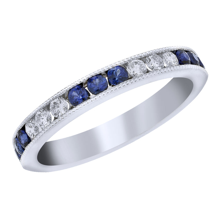 BLM Signature Milgrain Diamond and Blue Sapphire Band