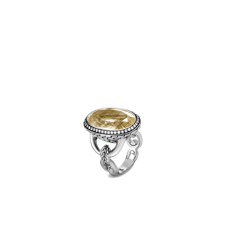 John Hardy Classic Chain Gold Rutilated Quartz Ring