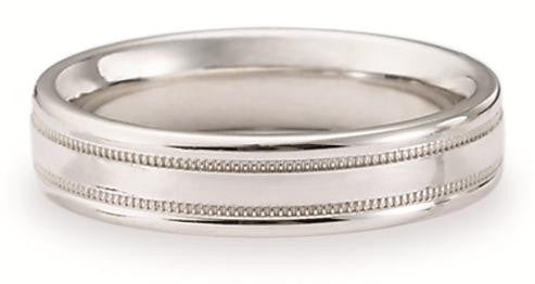 Benchmark 4.5mm Satin and Milgrain Platinum Wedding Band