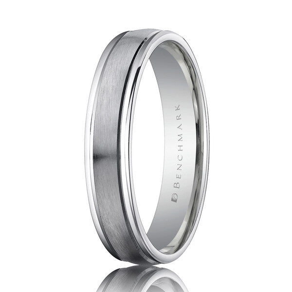 Benchmark 4.5mm Satin Center Platinum Wedding Band