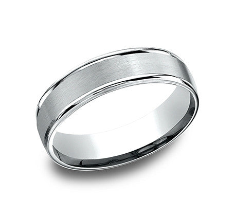 Benchmark 6mm Satin Finish Wedding Band - 14K White Gold