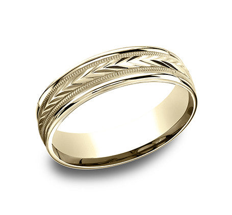 Benchmark 6mm Harvest Engraved Pattern Wedding Band - Yellow Gold
