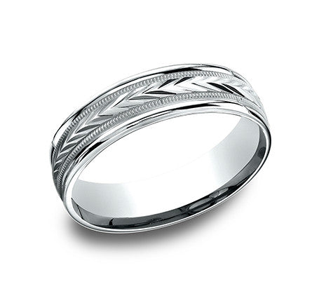 Benchmark 6mm Harvest Engraved Pattern Wedding Band - White Gold