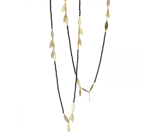 Ray Griffiths Black Tourmaline and Gold Fringe Necklace