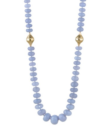 Ray Griffiths Crownwork and Graduated Chalcedony Beaded Necklace