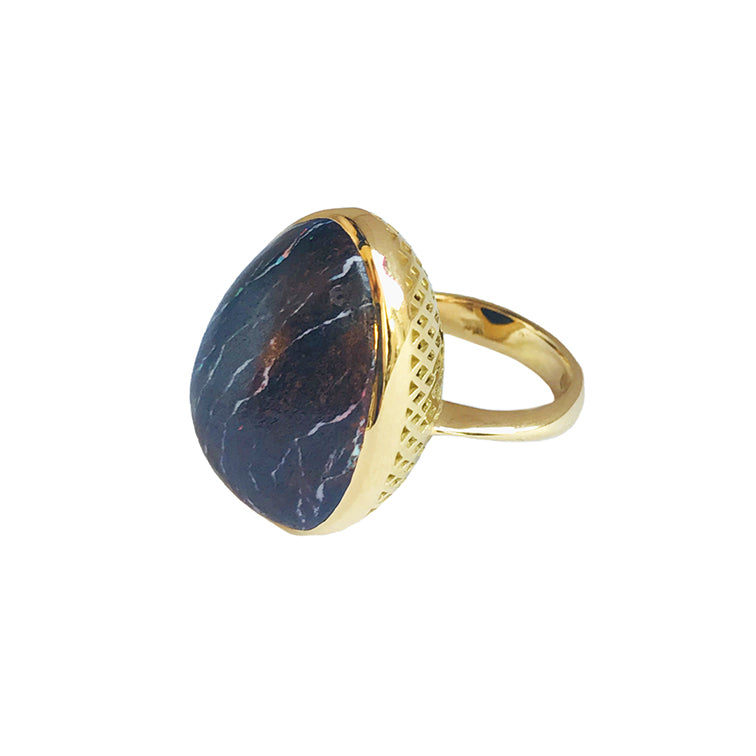 Ray Griffiths Boulder Opal and Crownwork Bezel Ring