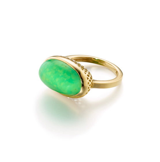 Ray Griffiths Green Turquoise and Crownwork Bezel Ring