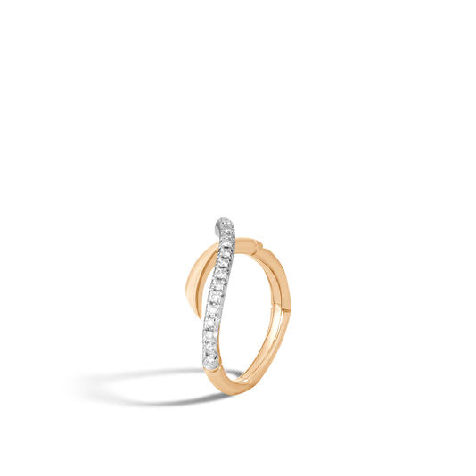 John Hardy 18k Yellow Gold Bamboo Ring with Diamonds
