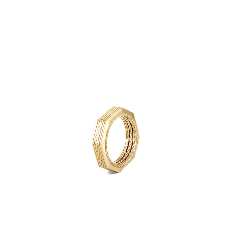 John Hardy Men's Classic Chain 18k Yellow Gold Octagonal Ring