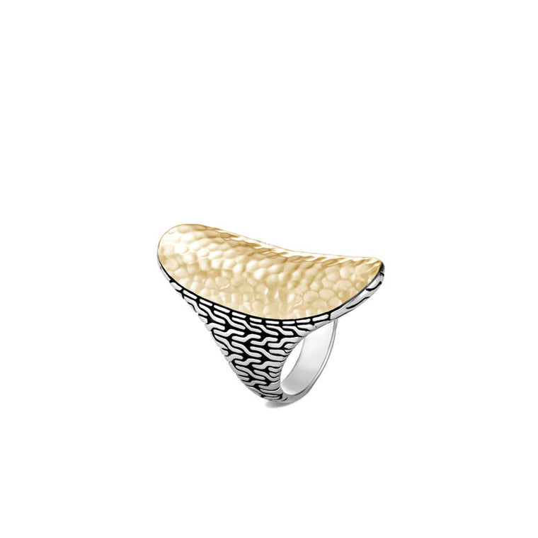 John Hardy Classic Chain Saddle Ring with Hammered Yellow Gold