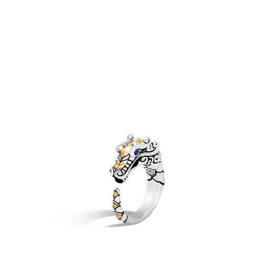 John Hardy 18k Yellow Gold and Sterling Silver Naga Brushed Ring