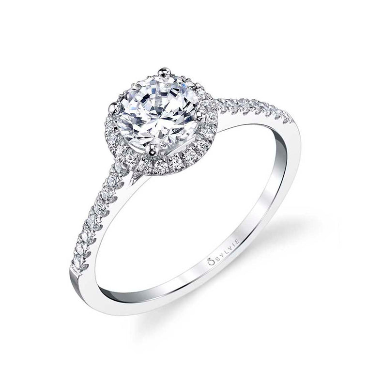 Sylvie Jenny 14k White Gold Halo Engagement Ring