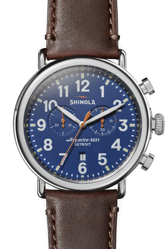 Shinola Runwell Chrono 47mm Watch with Royal Blue Dial