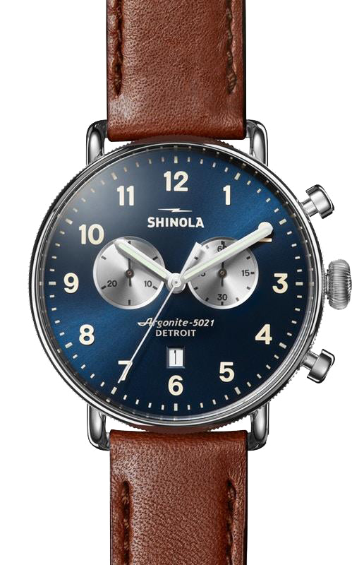 Shinola 'The Canfield' 43mm Chronograph Watch with Midnight Blue Dial