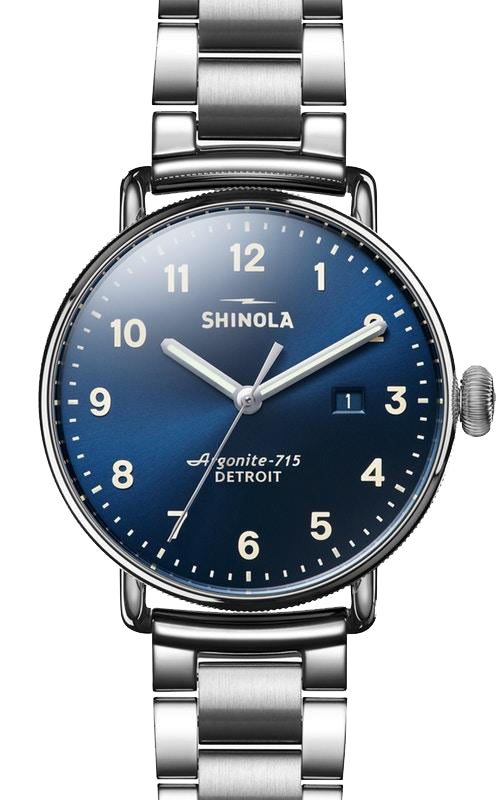 Shinola 'The Canfield' 43mm Watch with Midnight Blue Dial