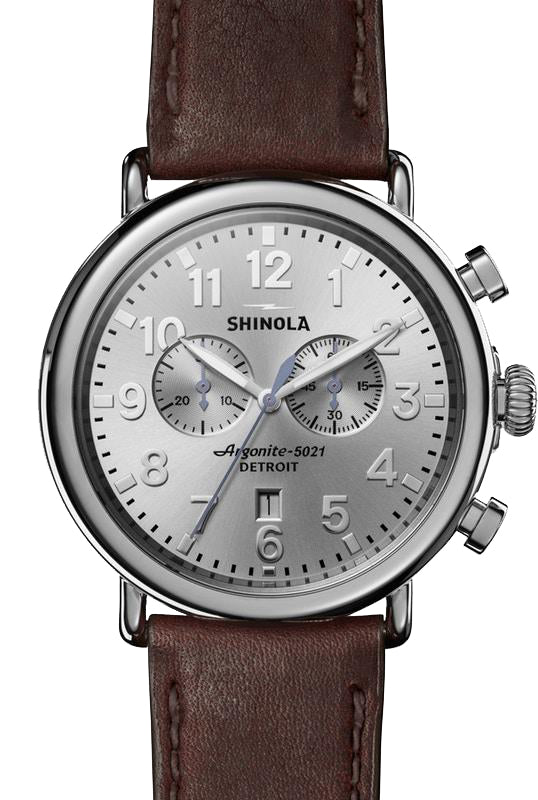 Shinola 'The Runwell' 47mm Chronograph watch with Silver Dial