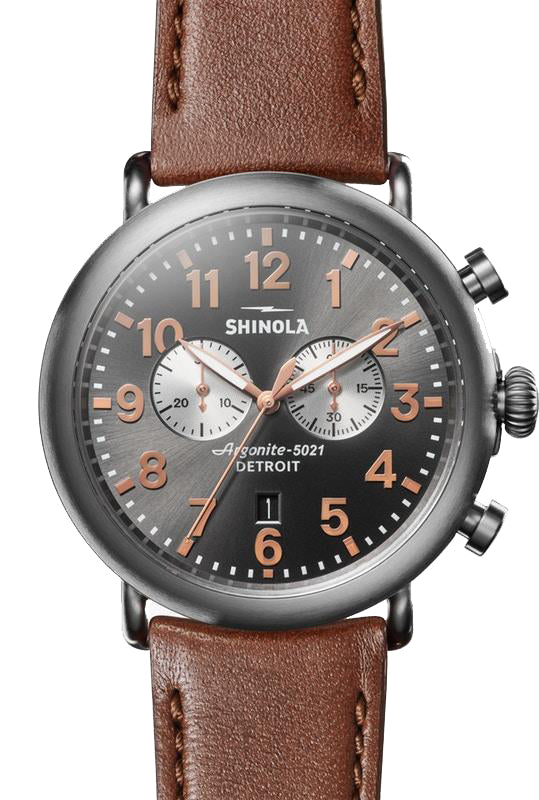 Shinola 'The Runwell' 47mm Chronograph Watch with Gunmetal Dial