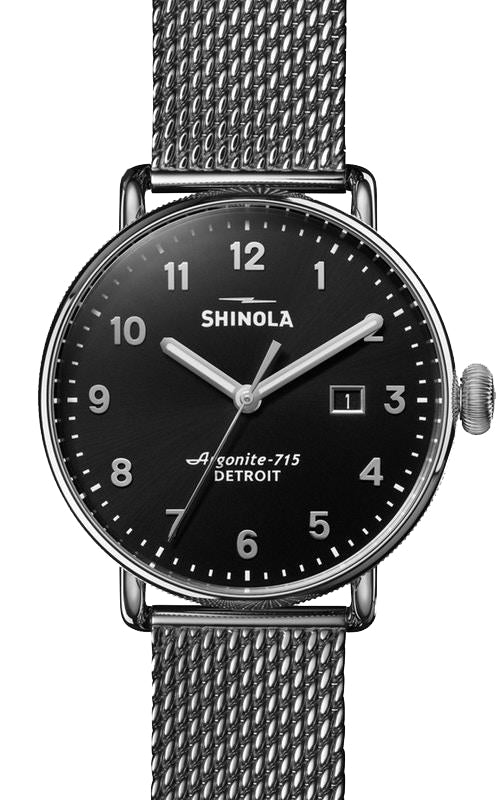 Shinola 'The Canfield' 43mm Watch with Black Dial
