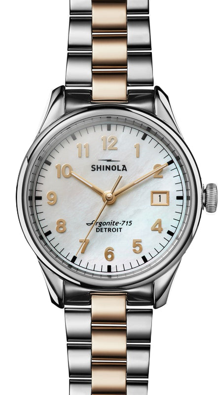 Shinola 'The Vinton' 38mm Watch with White Mother of Pearl Dial