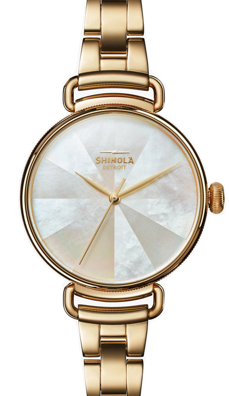 Shinola 'The Canfield' 38mm Watch with White Mother of Pearl Dial