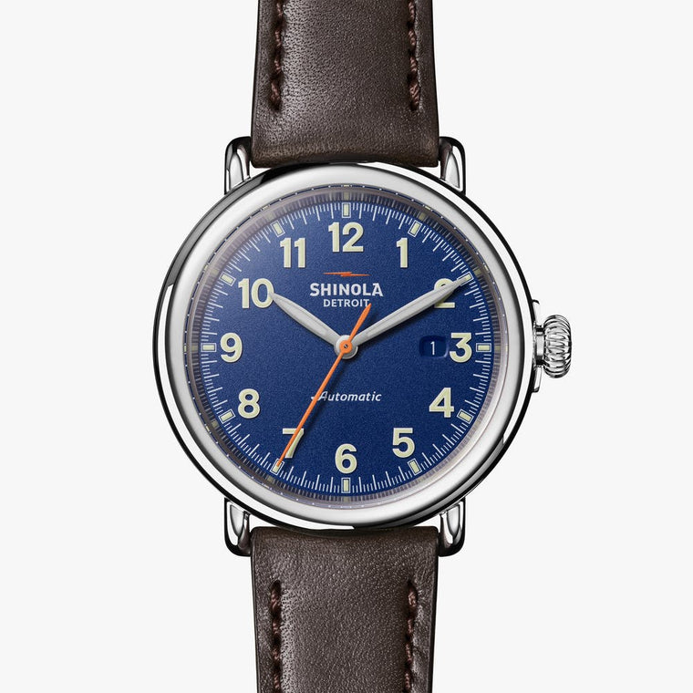 Shinola Runwell 45mm Automatic Watch with a Royal Blue Dial