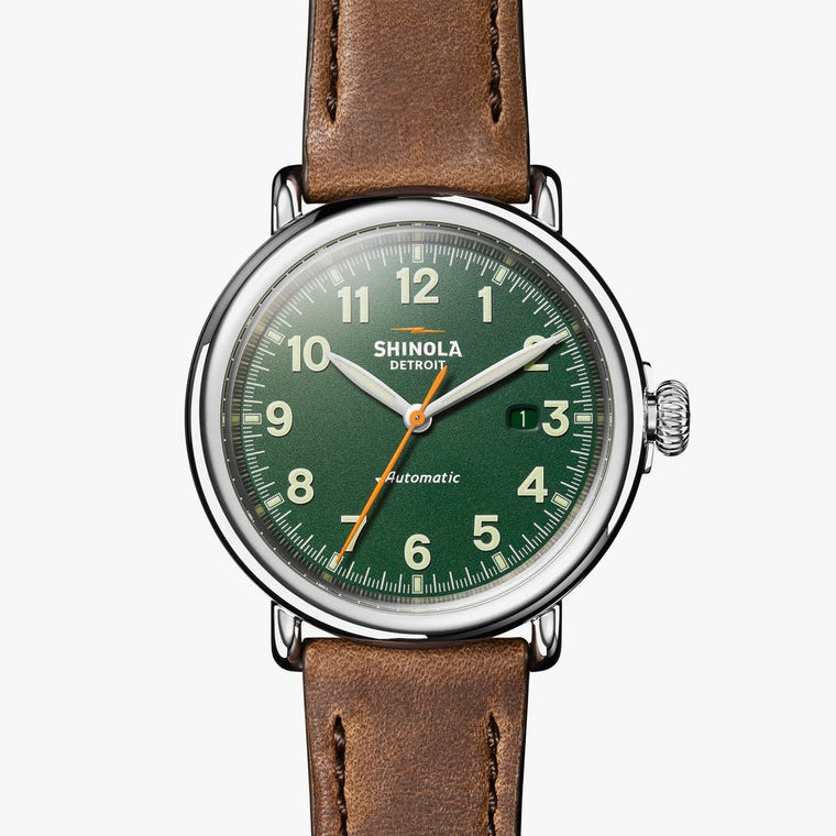 Shinola Runwell 45mm Automatic Watch with a Green Dial