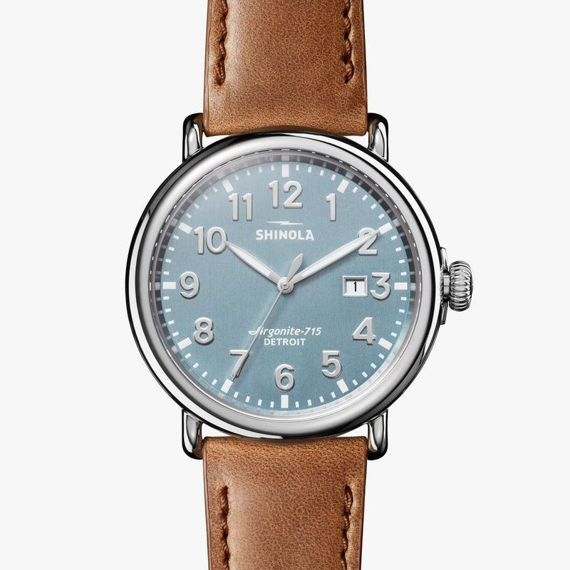Shinola 'The Runwell' 47mm Watch with Stone Blue Dial